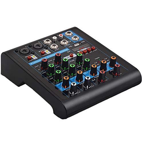 - elegantstunning Professional 4-Channel Small Blueteeth Mixer with Reverb Effect for Home Karaoke USB Live Stage Karaoke Performance EU Plug