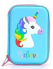 BTSKY EVA Horse Pencil Case Storage for Colored Pencils, Gel Pens, Markers, Craft Supplies (Blue)