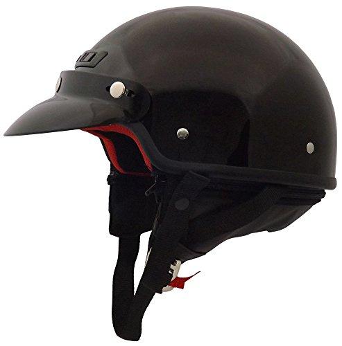 Core Helmets Deluxe Half Helmet (Gloss Black, Large)