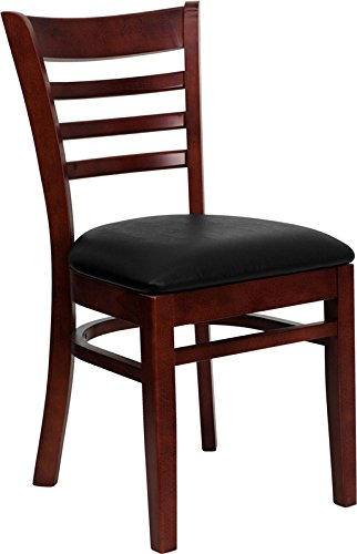 Vinyl Frame Black Wood Seat - Flash Furniture Hercules Series Mahogany Finished Ladder Back Wooden Restaurant Chair - Black Vinyl Seat [XU-DGW0005LAD-MAH-BLKV-GG]
