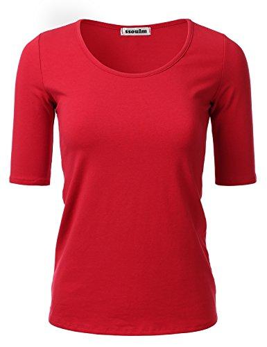 (SSOULM Women's 1/2 Sleeve Crewneck Cotton Basic Slim Fit T-Shirt Top RED L)