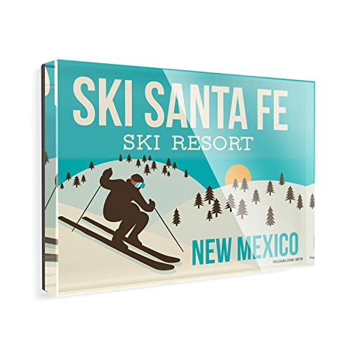 Acrylic Fridge Magnet Ski Santa Fe Ski Resort - New Mexico Ski Resort NEONBLOND