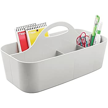 mDesign Office Supplies Desk Organizer Tote for Scissors, Pens, Pencils, Notepads, Markers, Highlighters, Tape - Light Gray