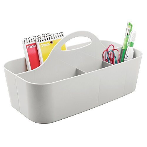 mDesign Office Supplies Desk Organizer Tote for Scissors, Pens, Pencils, Notepads, Markers, Highlighters, Tape - Light Gray - Office Supplies Closet Organizer