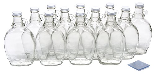 (North Mountain Supply 12 Ounce Glass Maple Syrup Bottles with Loop Handle & White Metal Lids & Shrink Bands - Case of 12)