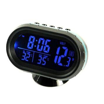 Ting Ao - Reloj digital para interior y exterior, voltímetro LCD, medidor de temperatura, retroiluminación: Amazon.es: Coche y moto