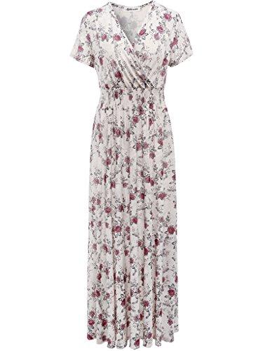 Aphratti Women's Bohemian Short Sleeve V Neck Elastic Waist Long Wrap Maxi Dress Red Flower Print Large (Dress Wrap Short Print Sleeve)