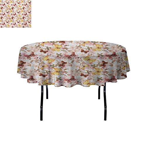 Retro Easy to Care for Leakproof and Durable Round tablecloths Madam Butterfly Theme with Letters and Bouquet Backdrop Print Outdoor Picnic D63 InchEarth Yellow Dried Rose Pale Pink (Solid Gold Madam)