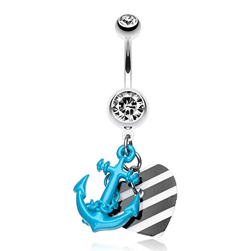 Vibrant Anchor Nautical Heart Belly Ring (Blue)