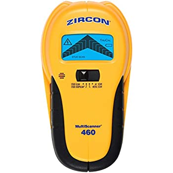 Zircon MultiScanner 460 Edge Finding Stud Finder with Metal and Live AC Wire Detection, Backlit LCD Screen, and Ergonomic Grip