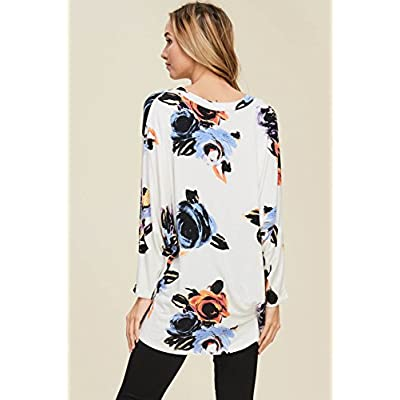 Annabelle Women's Flowered Print Hi-Lo Long Bulky Sleeves Cream Large TC2279 at Women's Clothing store