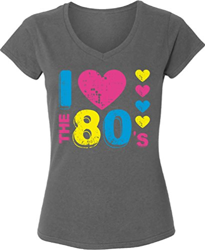 [Vizor Women's I Love The 80's Graphic V-neck T shirts Tops 80s Party 80s Costume 80s Disco Charcoal M] (Survivor Costumes Ideas)