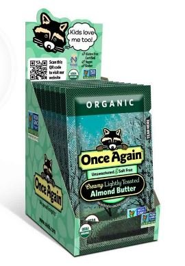 Butter Almond Toasted - Once Again Organic Lightly Toasted Almond Butter Squeeze Pack 10 CT