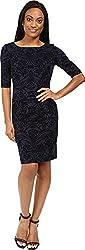 Tahari by ASL Petite Women's Petite Velvet Applique Sleeved Scuba Sheath Navy/Black Dress