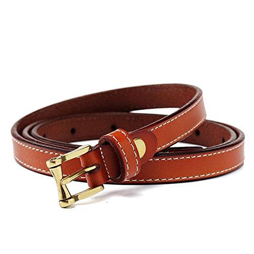 MoYoTo® Women's Stylish Adjustable 100% Genuine Leather Thin Jean Belts (Brown)