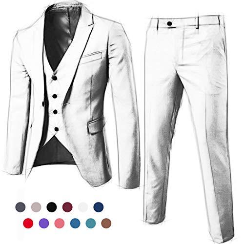 (MY'S Men's 3 Piece Suit Blazer Slim Fit One Button Notch Lapel Dress Business Wedding Party Jacket Vest Pants & Tie Set Personalized Size)