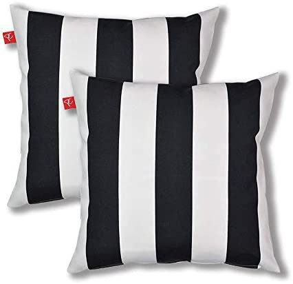 Pcinfuns Outdoor Decorative Pillows with Insert Black and White Stripe Throw Pillow Covers All Weather Patio Cushions 18 x 18 Set of 2