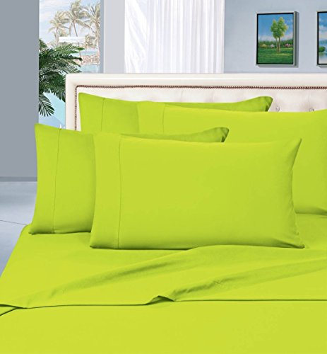 Elegant Comfort Luxurious Amazon 1500 Thread Count Hotel Quality Wrinkle,Fade and Stain Resistant 4-Piece Bed Sheet Set, Deep Pocket, Queen, Lime