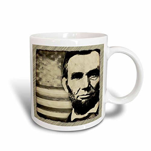 (3dRose President Abraham Lincoln with American Flag in Sepia Tone Colors Mug, 11-Ounce)