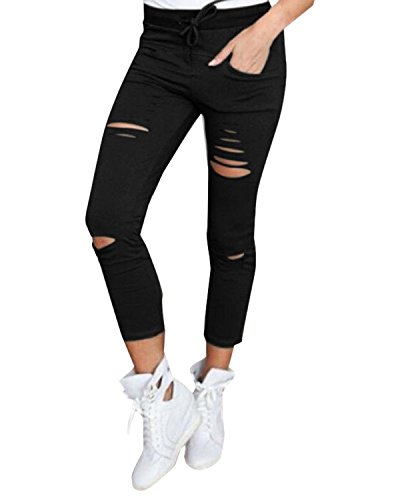 StyleDome Mujer Pantalones Rasgados Skinny Moda Elegantes Deportivos Oficina Cordón Negro