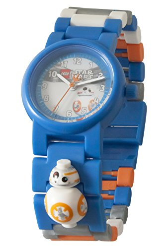 Boys Acrylic Watch (LEGO Star Wars BB-8 Kids Minifigure Link Buildable Watch | blue/orange| plastic | 28mm case diameter| analogue quartz | boy girl | official)