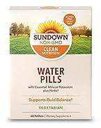 Sundown Naturals Natural Water Pills Herbal Supplement Tablets, 60 Count Package