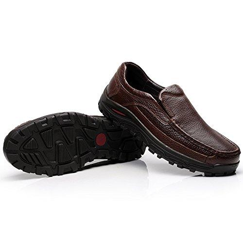 Rismart Hombres Flexible Enredaderas Suela Resbalones Comodidad Al Aire Libre Cuero Genunine Zapatillas Tamaño Grande Disponible Marrón