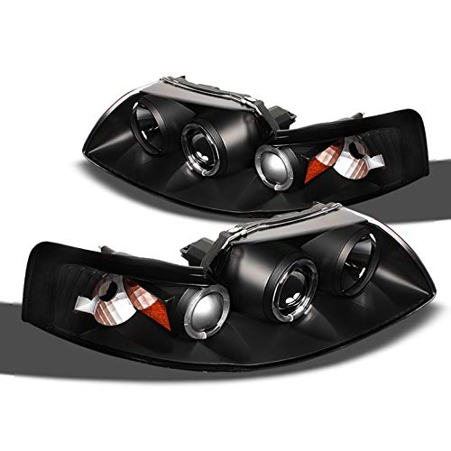 (Xtune 1999-2004 Ford Mustang Dual Halo Projector Headlights Black Head Lights Lamp Pair Left+Right 2000 2001 2002 2003)