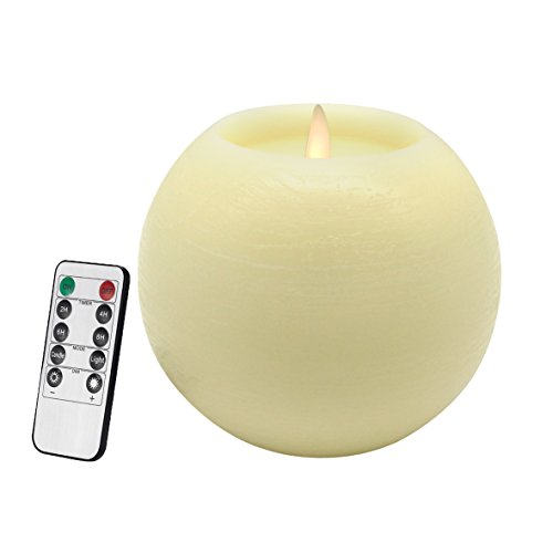 CVHOMEDECO. Moon Sphere Wax LED Dancing Flame Candle Ball Battery Operated Wax LED Flameless Candle with Timer and Remote Control, 6