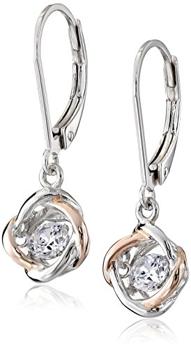 Plated Sterling Silver Dancing Cubic Zirconia Two Tone Love Knot Leverback Dangle Earrings