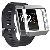 Hankn Compatible Fitbit Ionic Watch Case, Plated Covers All-Around Full Front Screen Protective Soft TPU Case High Defination for Fitbit Ionic Smartwatch (Silver)