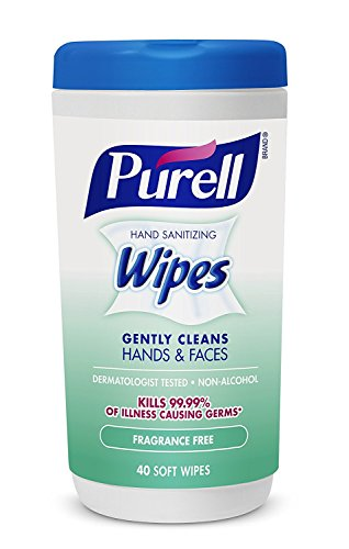 Hand and Face Sanitizing Wipes -3 Refreshing Scent And 3 Fragrance Free Canisters of 40 Count by Purell (Image #3)