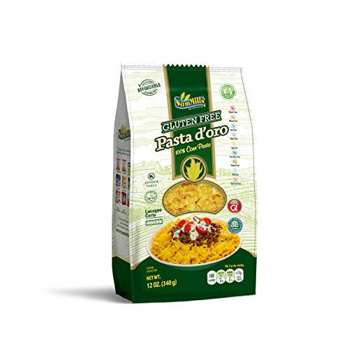 Gluten Free Corn Pasta - 2 Pack Pasta d'oro 100% Corn Pasta, Lasagne Corte, Net Wt 12oz each
