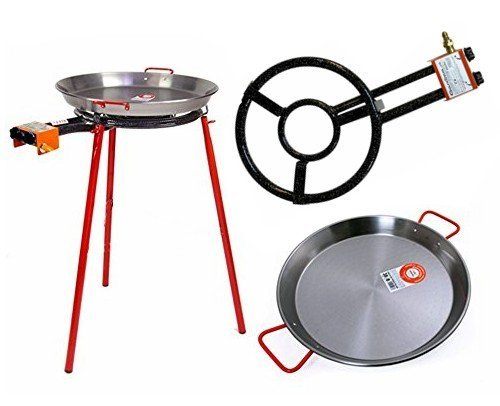 Paella Pan + Paella Burner and Stand Set - Complete Paella Kit for up to 9 Servings by Garcima