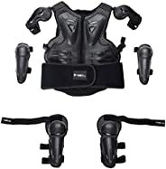 BESPORTBLE 1 Set Kids Protective Armor Riding Vest Elbow Knee Protection Guards Motorcycle Riding Vest Gear Su