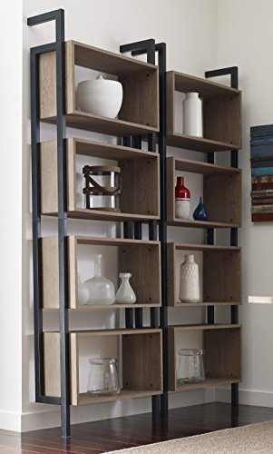 Tommy Hilfiger Burkina Rack with Four Shelves and Black Steel Frame in Light Burnt Oak