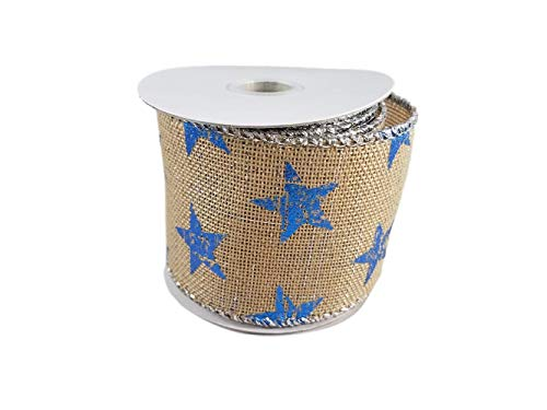 Patriotic Burlap Red White and Blue Stars and Stripes Americana Themed Wired Edge Ribbon for 4th of July, Memorial Day Party Decorating, 2.5 Inches by 3 Yards (Blue Star) ()