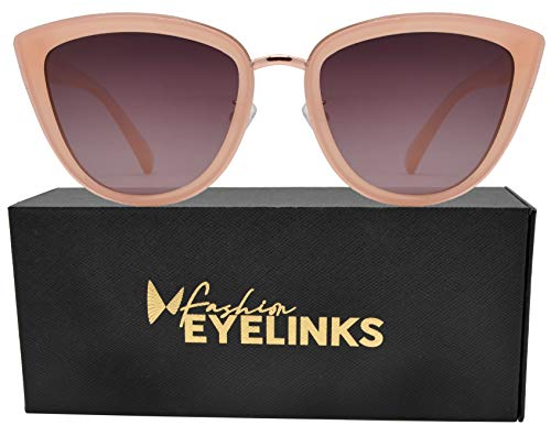a3b2ccd1b5 PZ Polarized - Women Cat Eye Metal Bridge Design Mirror Sunglasses (Pink +  Brown Pink