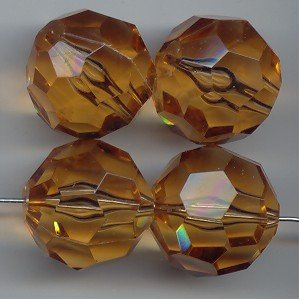 SMOKE TOPAZ 22MM ROUND FACETED BEADS - Lot of 12