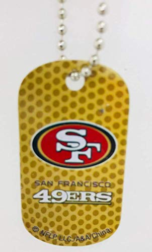 Mirror Mania San Francisco 49ers NFL Football Dog Tag Chain Personalized Free Engraved Custom Name On Back SF 49ers - a Chain, Keychain, Luggage tag, or Clip on Backpack or - Dog 49ers Tag