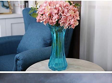 QINCH Home Florero de Vidrio de Color Simple Europeo Vidrio hidropónico Flores Transparentes Rico arreglo de Flores de bambú Sala de Estar Comedor decoración (Color : Blue)
