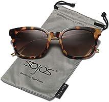 SOJOS Classic Polarized Sunglasses for Women Men Mirrored Lens SJ2050 with Black Frame/Grey Polarized Lens