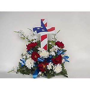 "Solar Lighted American Flag Cross by Eternal Light | Veteran Cross Decoration Heartfelt Cemetery Memorial 14"" x 10"" 2"