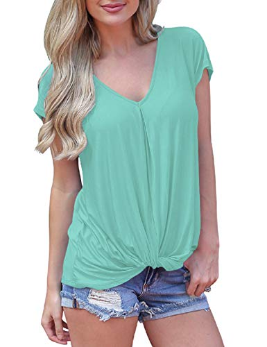 Womens T Shirts Front Twist Easter Tops Fashion 2019 Cotton Leggings Tunic Pale Green L