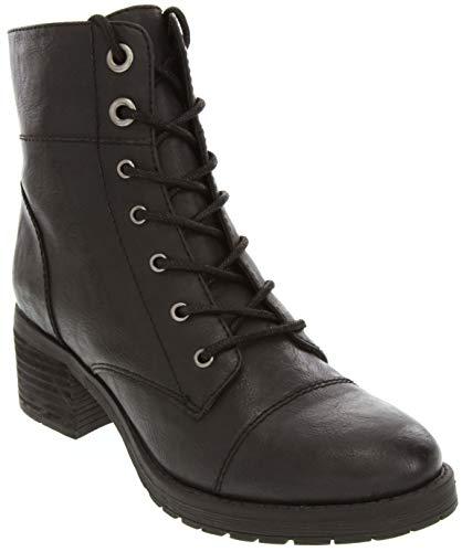 (Sugar Women's Klondike Lace Up Combat Boot Low Shaft with Block Heel Black Burnished)