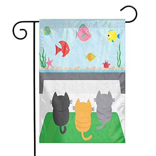 Mannwarehouse Cat Garden Flag Cats Sitting on a Carpet and Looking at Cheerful Fish Tank Cat Family of Three Content Premium Material W12 x L18 ()