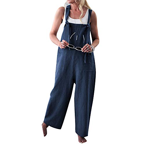 Women Casual Linen Loose Bib Pants Wide Leg Jumpsuits Rompers Overalls with Pockets Blue