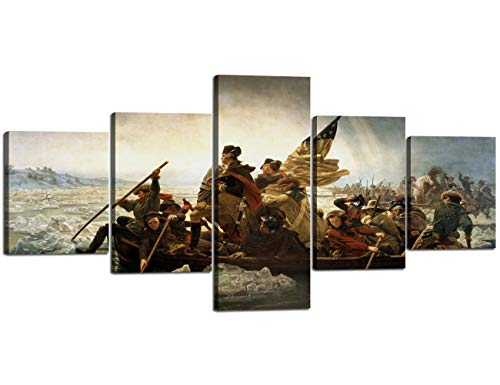 5 Piece Modern World Famous Painting Reproduction Canvas Wall Art Washington Crossing The Delaware The Revolutionary War National Memorial Posters Patriotic Artwork for Home Office Decor - 50