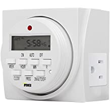 iPower 7 Day Programmable Digital Electric Timer, Dual Outlet, Grounded
