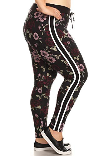 - ShoSho Womens Plus Size Joggers Track Pants Super Soft Sweatpants Leggings Floral Print Burgundy 2X